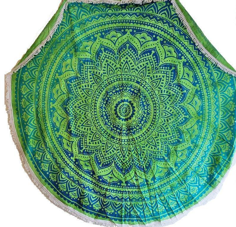 Rainforest Green Round Mandala Tapestry - Tatventure