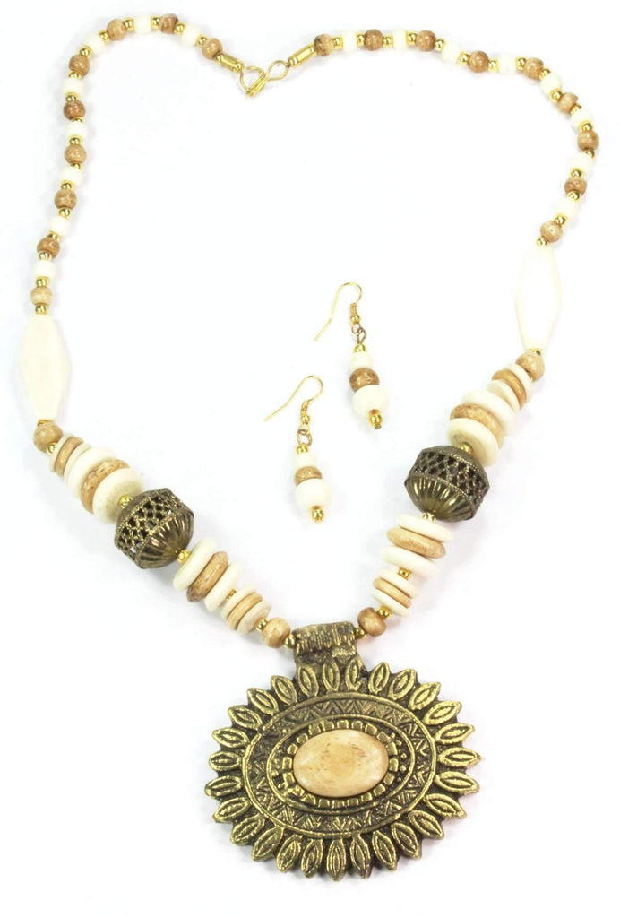 Sun Mandala Flower Pendant Necklace & Earring Set - Tatventure