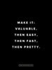 Motivational Poster: Make it valuable, then easy, then fast, then pretty 18x24... Dept. of Motivation