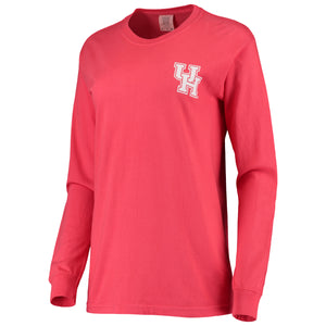 University of Houston Cougars Women's Landmark Long Sleeve Tee-RED