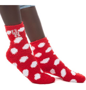 University of Houston Fuzzy Dot Socks