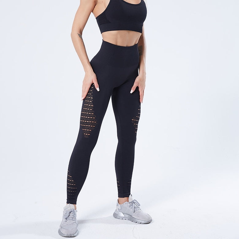 Stretch Sports Leggings - Black - Tanwara- leggings