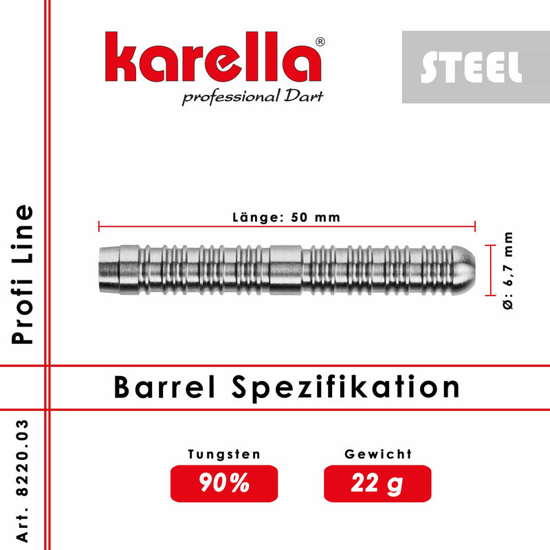 Steelbarrel Karella Profi Line 90% Tungsten PL-03 22 g. - DreamDarts Online Dartshop