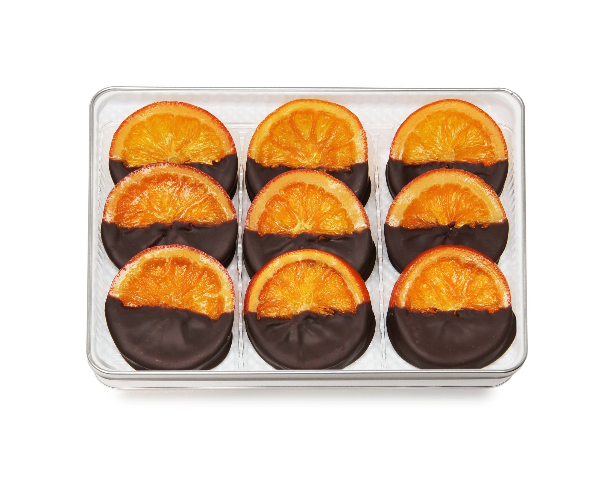 Signature Reserve Chocolate Dipped Oranges Large Embossed Gift Tin Corporate Gifts vendor-unknown