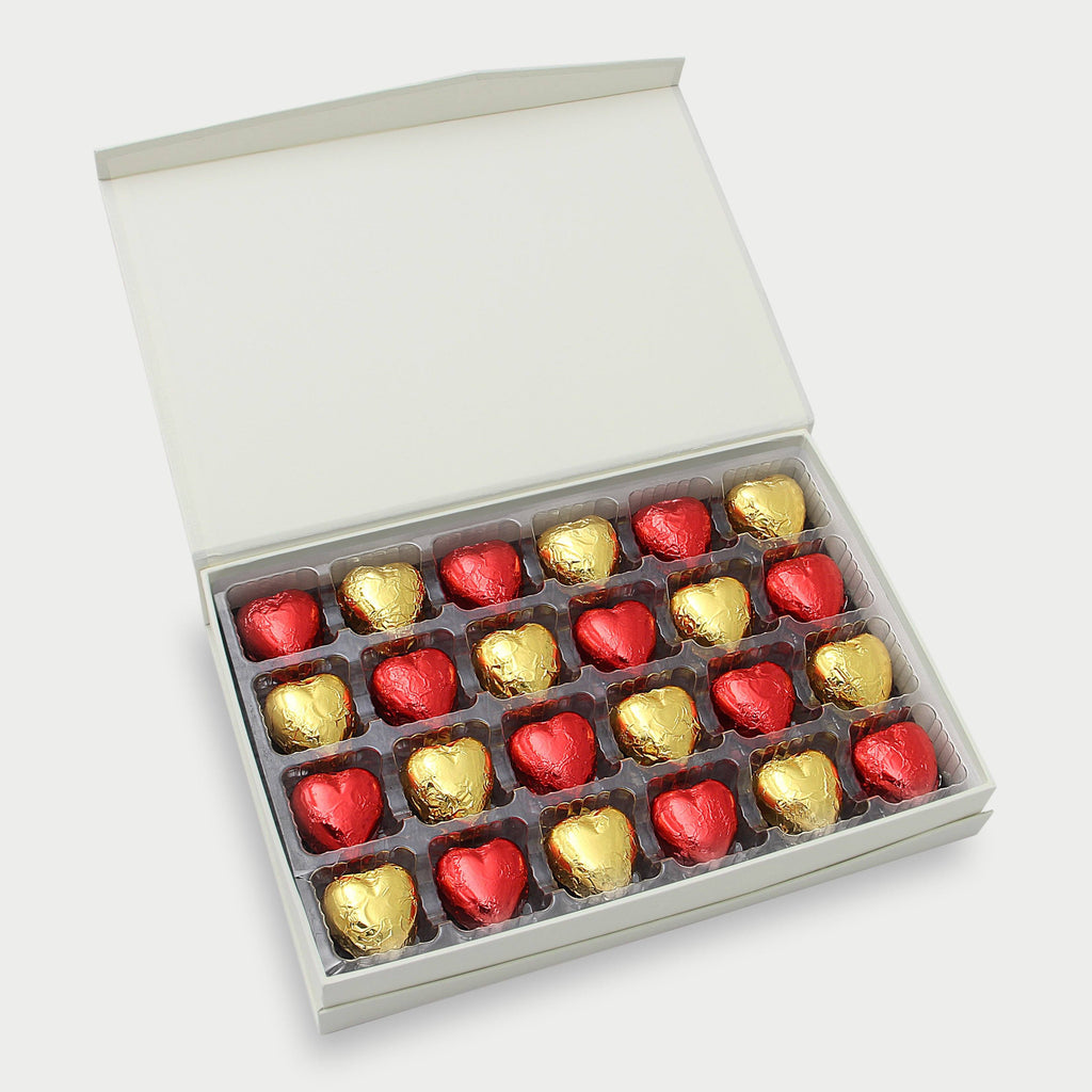 Milk Chocolate and Dark Chocolate Hearts - 24 pieces Gourmet Chocolates & Toffee Torn Ranch