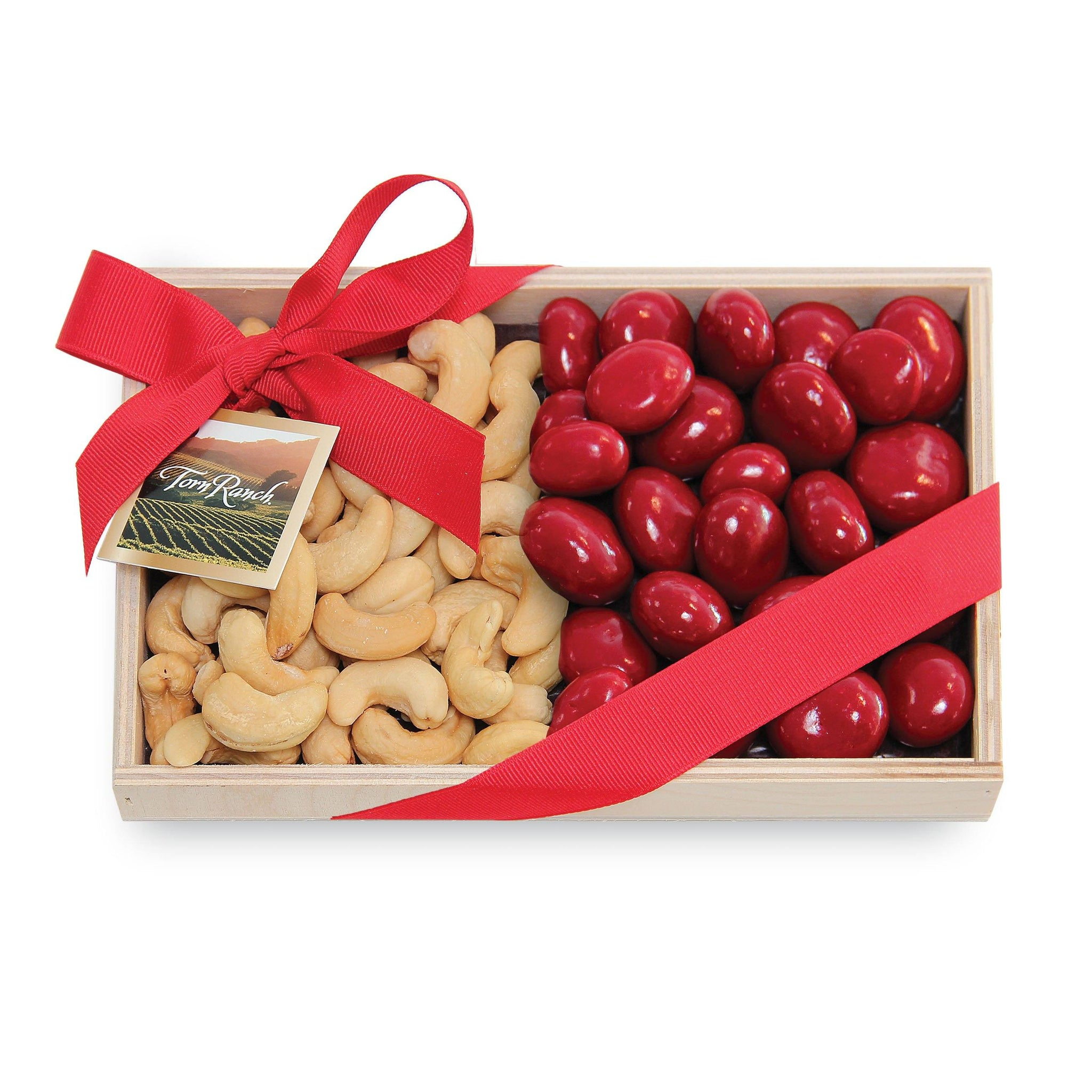 Colossal Cashews and Chocolate Cherries in Wood Tray Unique Gifts & Gift Baskets vendor-unknown