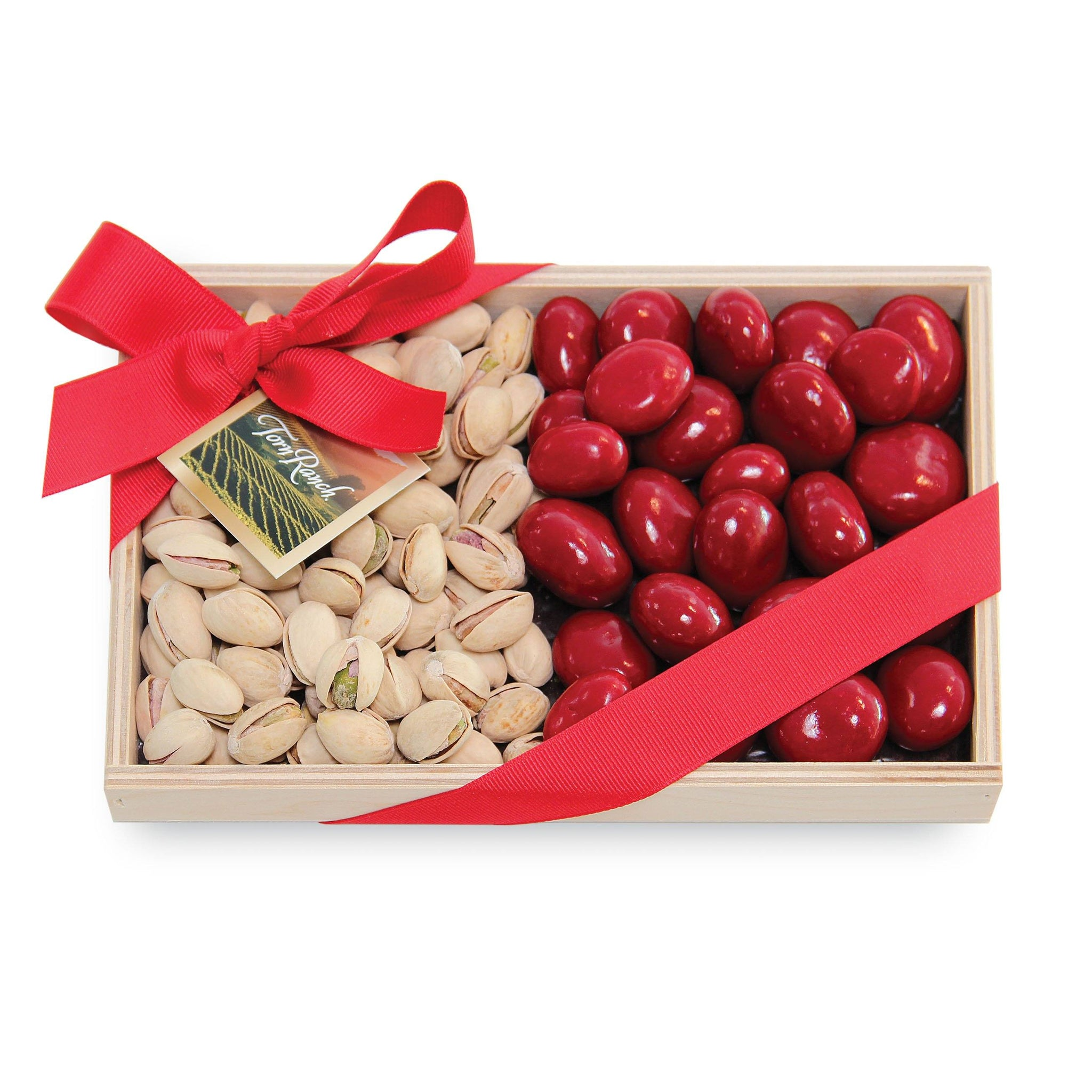 Colossal Pistachios and Chocolate Cherries in Wood Tray Unique Gifts & Gift Baskets vendor-unknown