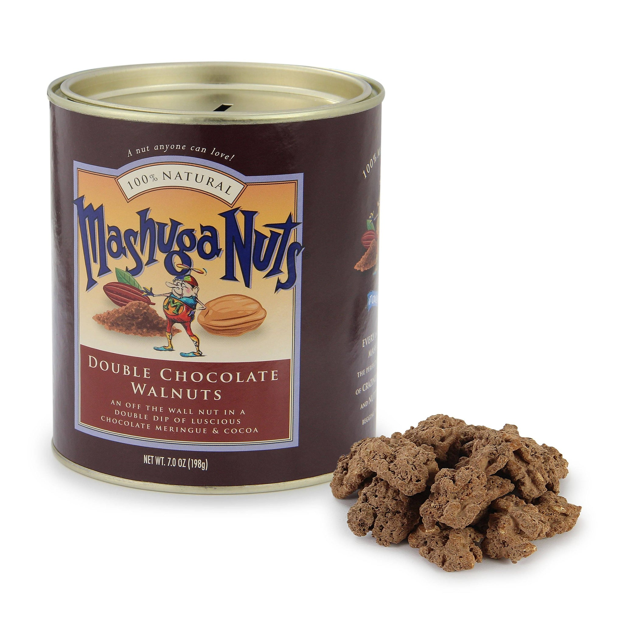 Torn Ranch Mashuga Nuts Duo Carrier (Tin) in Gourmet Nuts. Pile of nuts next to container.