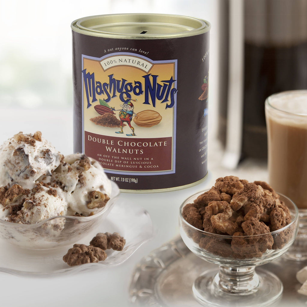 Torn Ranch Mashuga Nuts Duo Carrier (Tin) in Gourmet Nuts. Glass bowl of nuts with some used as ice cream topping.