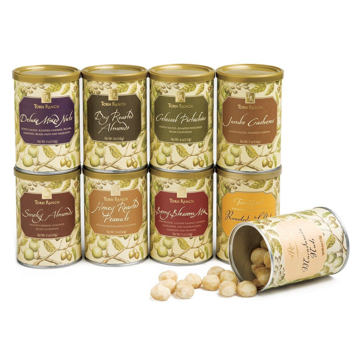 Classic Nut Tins filled with freshly roasted nuts including Smoky Almonds, Berry Blossom Trail Mix, Jumbo Cashews, Deluxe Mixed Nuts, Hawaiian Macadamia Nuts, and California Colossal Pistachios