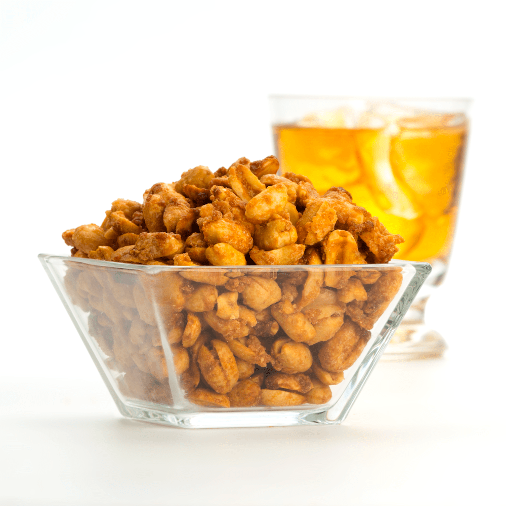 Cocktail Nut Set Bourbon Maple Cocktail Nuts in glass dish