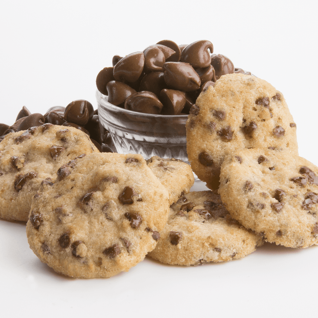 Chocolate Chip Cookies Gift Two Pack Fresh Baked Cookies - cookies and bowl of chocolate chips