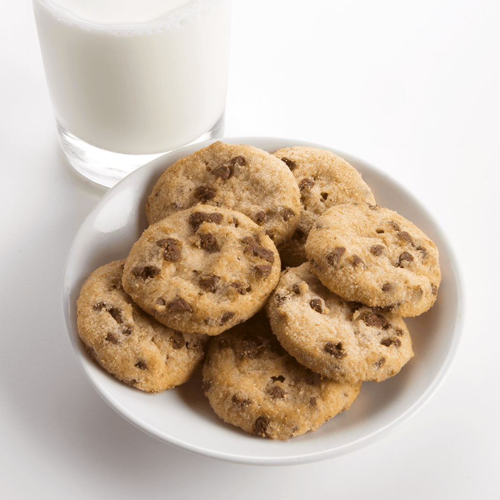 Chocolate Chip Cookies Fresh Baked Cookies - plate of cookies with glass of milk