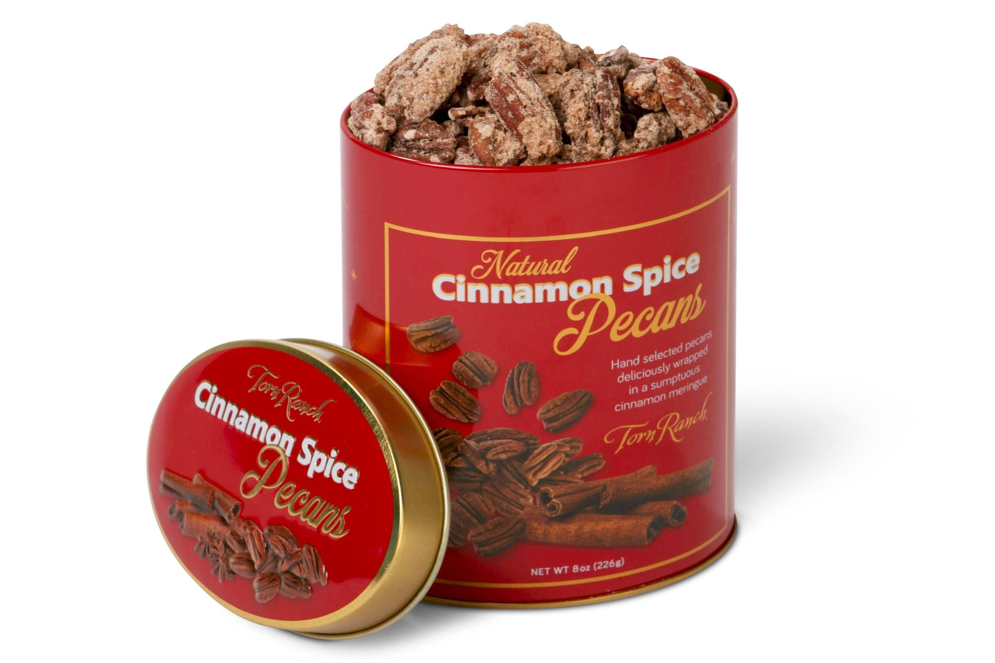 Cinnamon Spice Pecans in red decorative tin with lid off