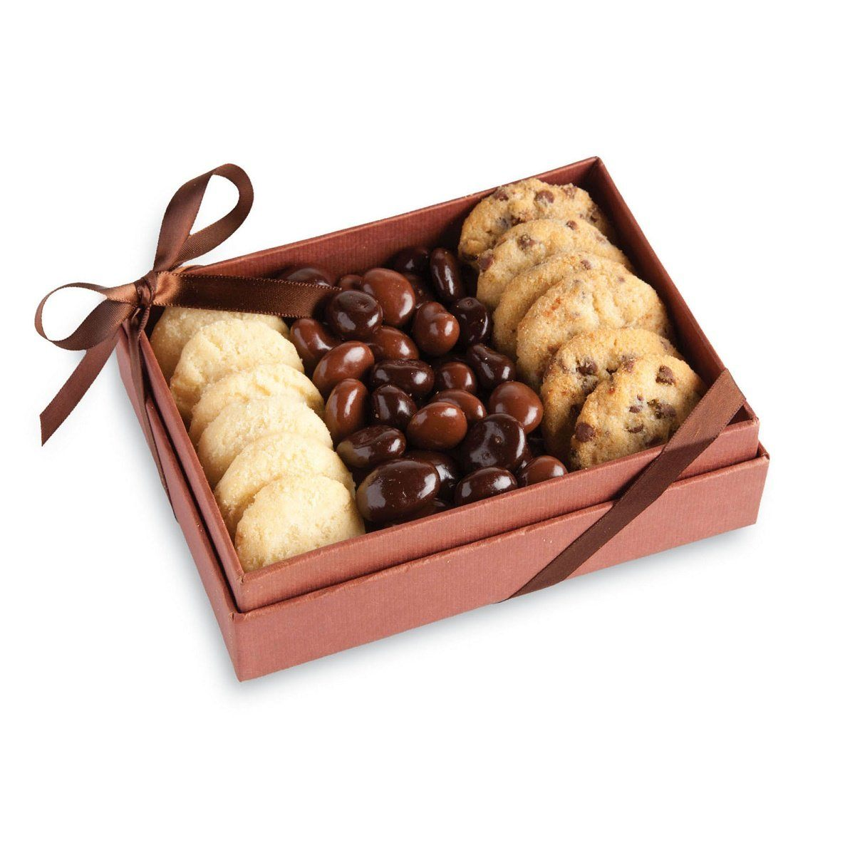 Cookies & Chocolate in elegant wood box filled with freshly baked Chocolate Chip Cookies, Butter Shortbread Cookies, and Milk & Dark Chocolate Covered Raisins