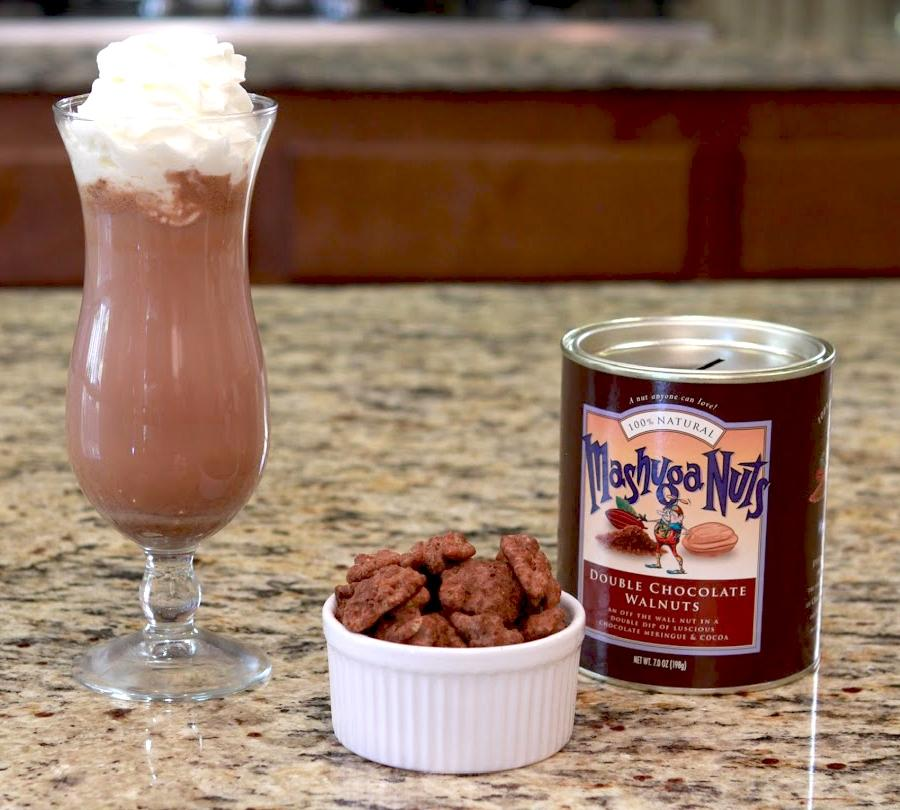 Torn Ranch Mashuga Nuts Duo Carrier (Tin) in Gourmet Nuts- Nuts in ramekin next to tin and hot chocolate glass