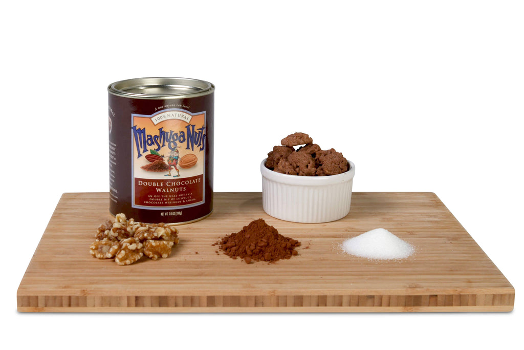 Double Chocolate Walnuts (Value Pack of 6 Tins) Gourmet Nuts with ingredients on wooden tray