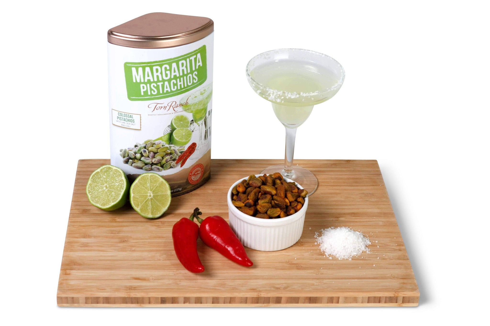 Copper Cocktail Nut Tin Collection Gourmet Nuts - Margarita Pistachios with margherita on wood tray