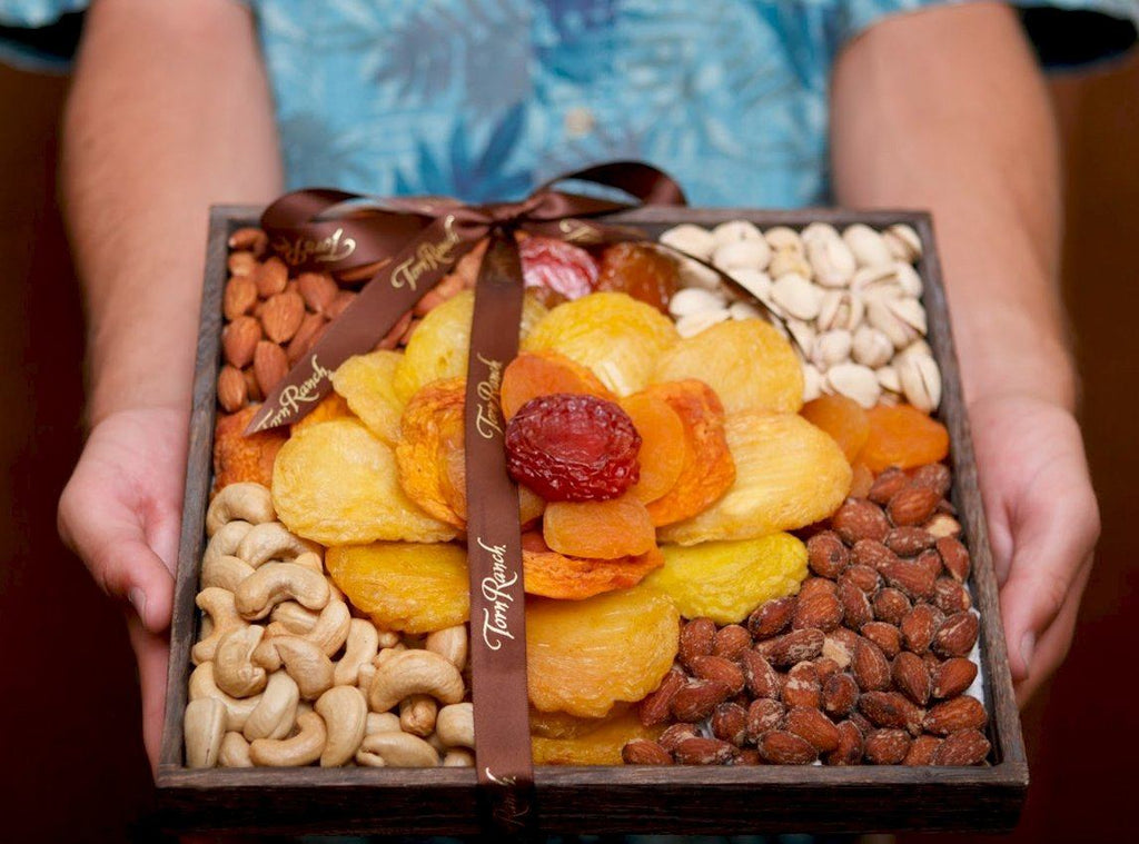 Torn Ranch Rose in Dry Fruits- Package presented by hands