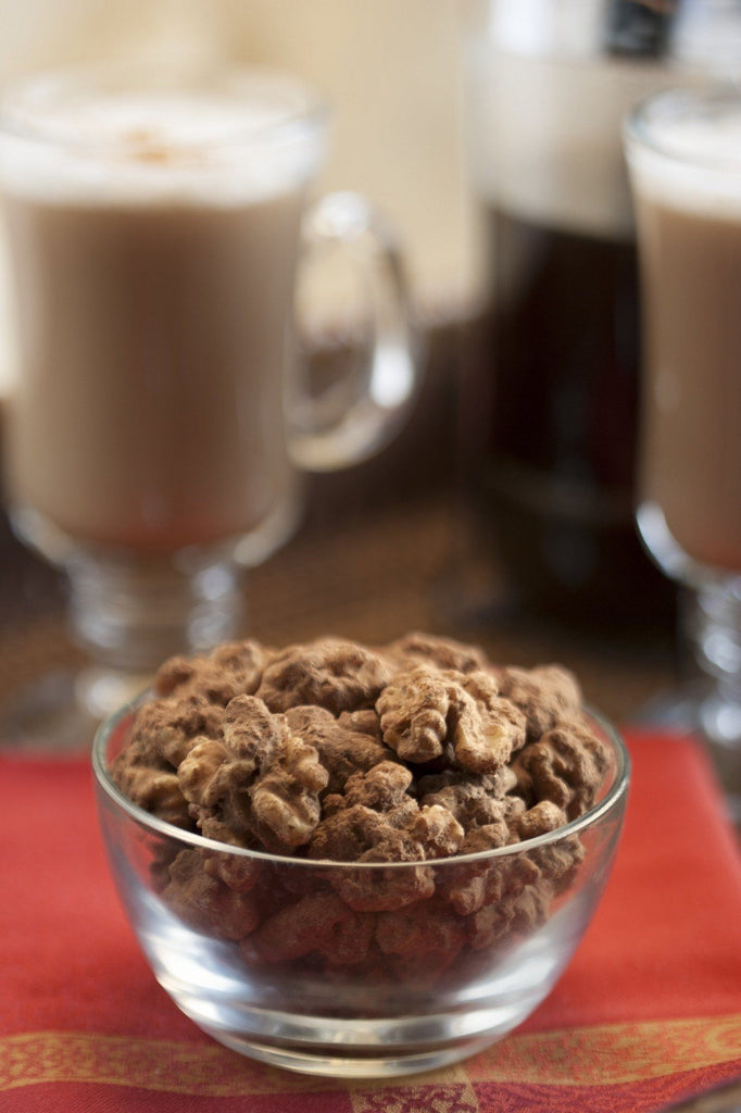Torn Ranch Mashuga Nuts Duo Carrier (Tin) in Gourmet Nuts - Glass dish of nuts with irish coffee in background