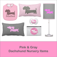 Pink & Gray Dachshund Nursery Goods