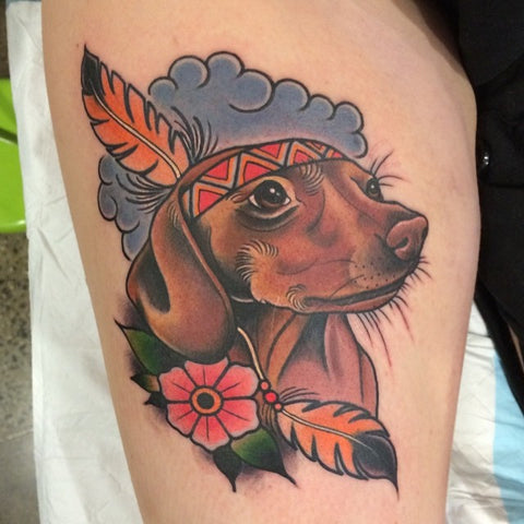 dachshund native american tattoo