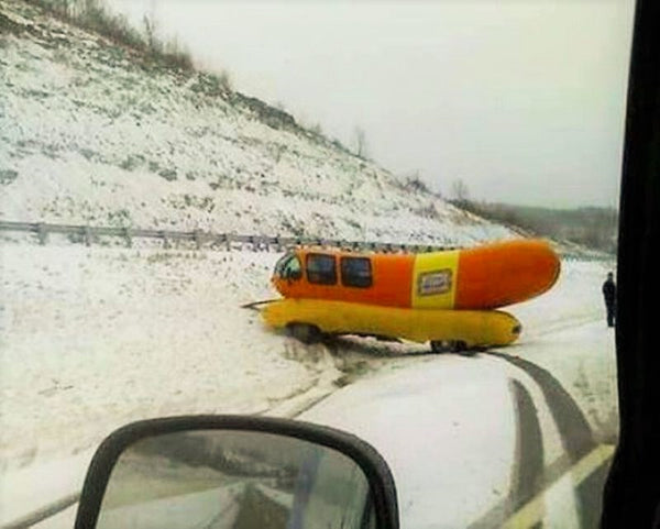 wiener wagon wrecked in the snow