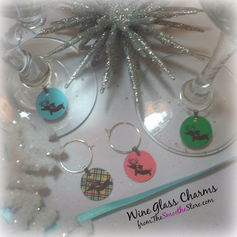 Reindeer Dachshund Christmas Wine Glass Charms, The Smoothe Store