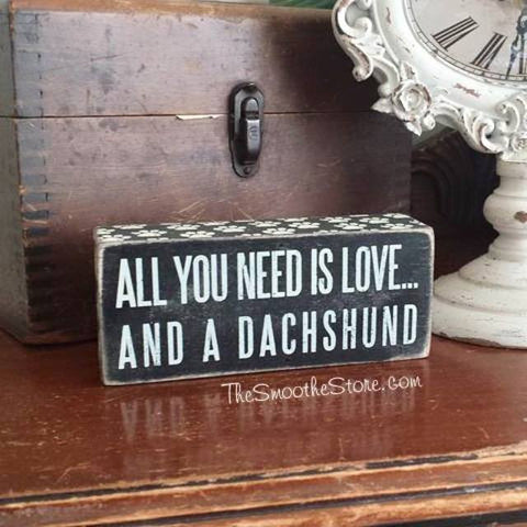 """All You Need is Love and a Dachshund"" Box Sign - The Smoothe Store - 7"