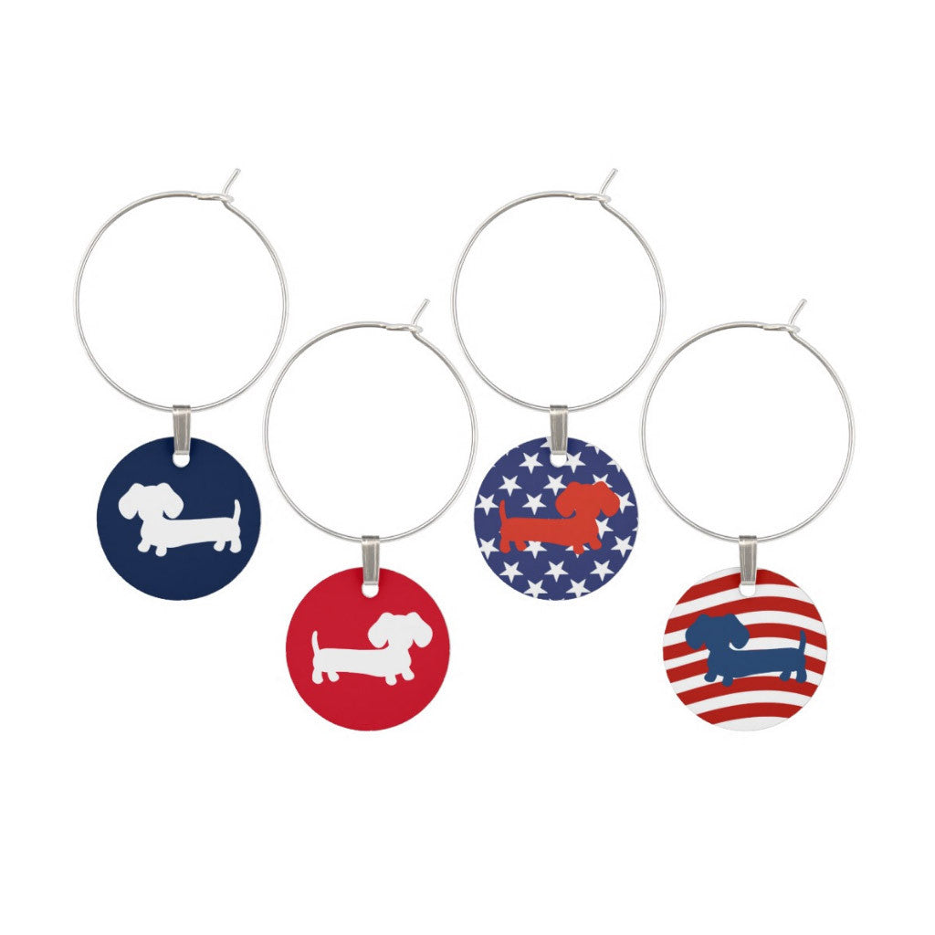American Wiener Dog Wine Glass Charms - The Smoothe Store
