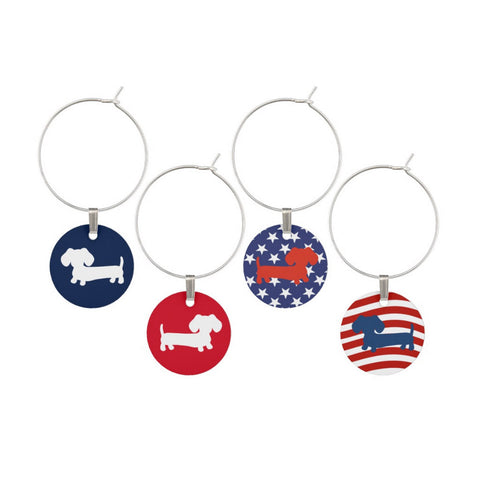 American Wiener Dog Wine Glass Charms