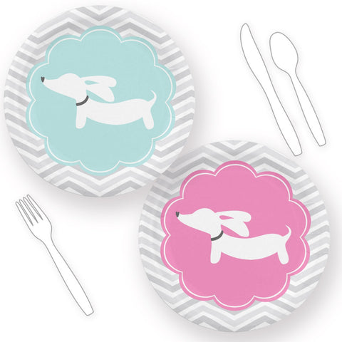 Dachshund Themed Baby Shower Paper Plates Blue or Pink