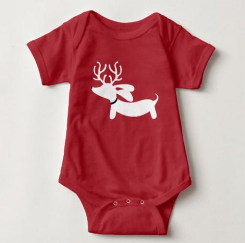 Reindeer Dachshund One Piece Baby Outfit