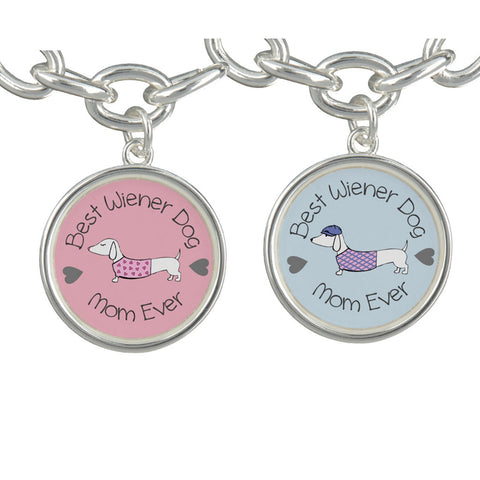 Best Wiener Dog Mom Charm Bracelet