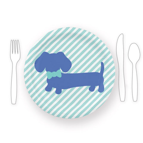Dachshund Party Paper Plates with Blue Bow Ties