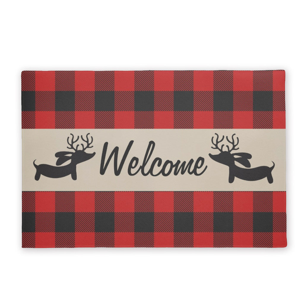 Buffalo Plaid Reindeer Dachshund Doormat, The Smoothe Store