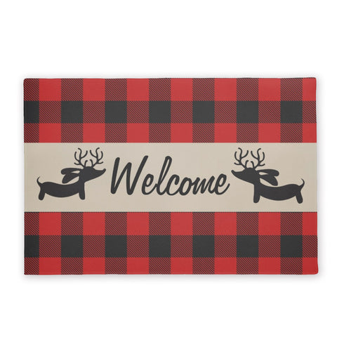 Buffalo Plaid Reindeer Dachshund Doormat