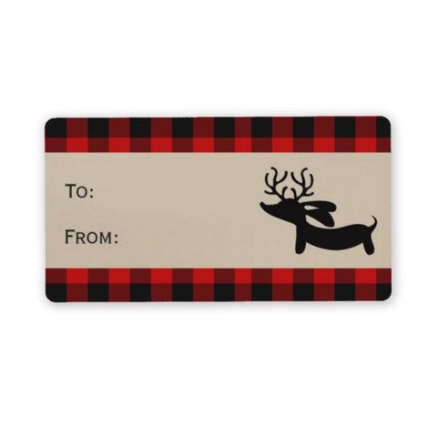 Wiener Dog Buffalo Plaid Christmas Gift Tags (8 per sheet)