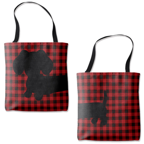 Buffalo Plaid Dachshund Tote Bag - The Smoothe Store - 1