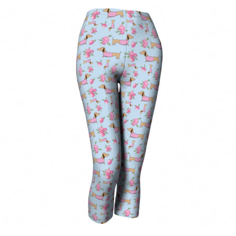 Capris Leggings Dachshunds and Floral Print