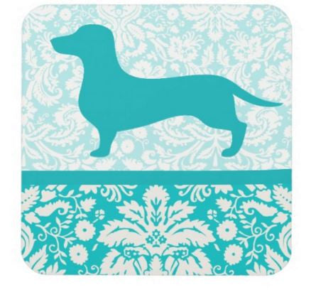 Floral Dachshund Drink Coaster Set