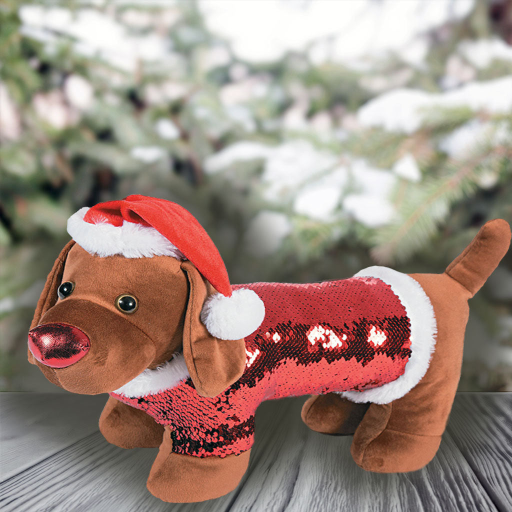 Sequin Christmas Dachshund In Santa Hat Limited Stock The Smoothe Store