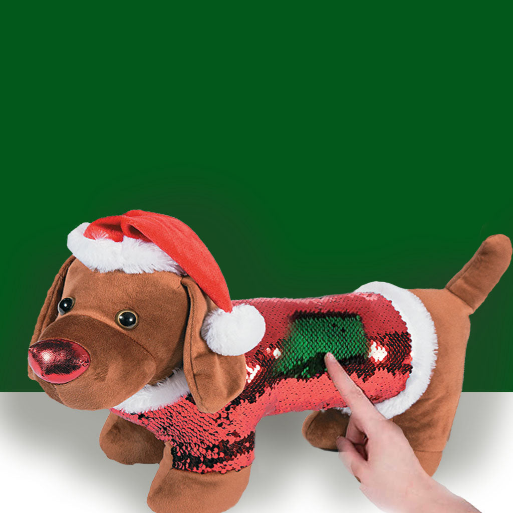 Sequin Christmas Dachshund in Santa Hat, The Smoothe Store