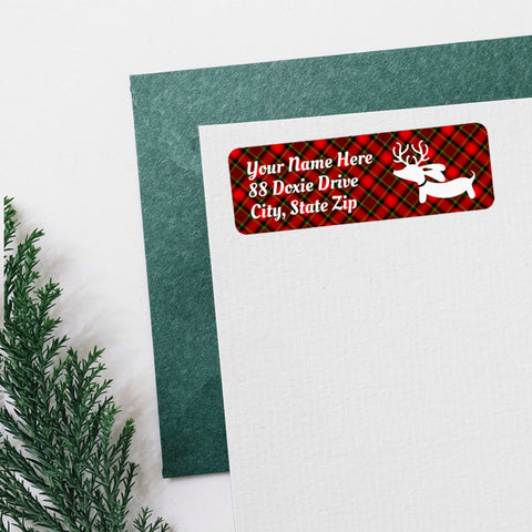 Reindeer Dachshund Christmas Card Return Address Labels