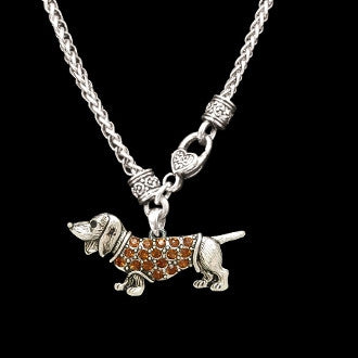 Amber-Colored Stones Dachshund Necklace