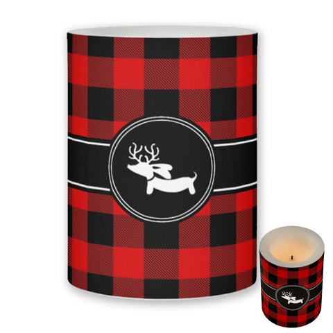 Buffalo Plaid Print Dachshund Flameless Candle
