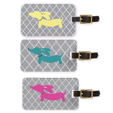 Pink or Blue Dachshund Luggage Bag Tags - The Smoothe Store