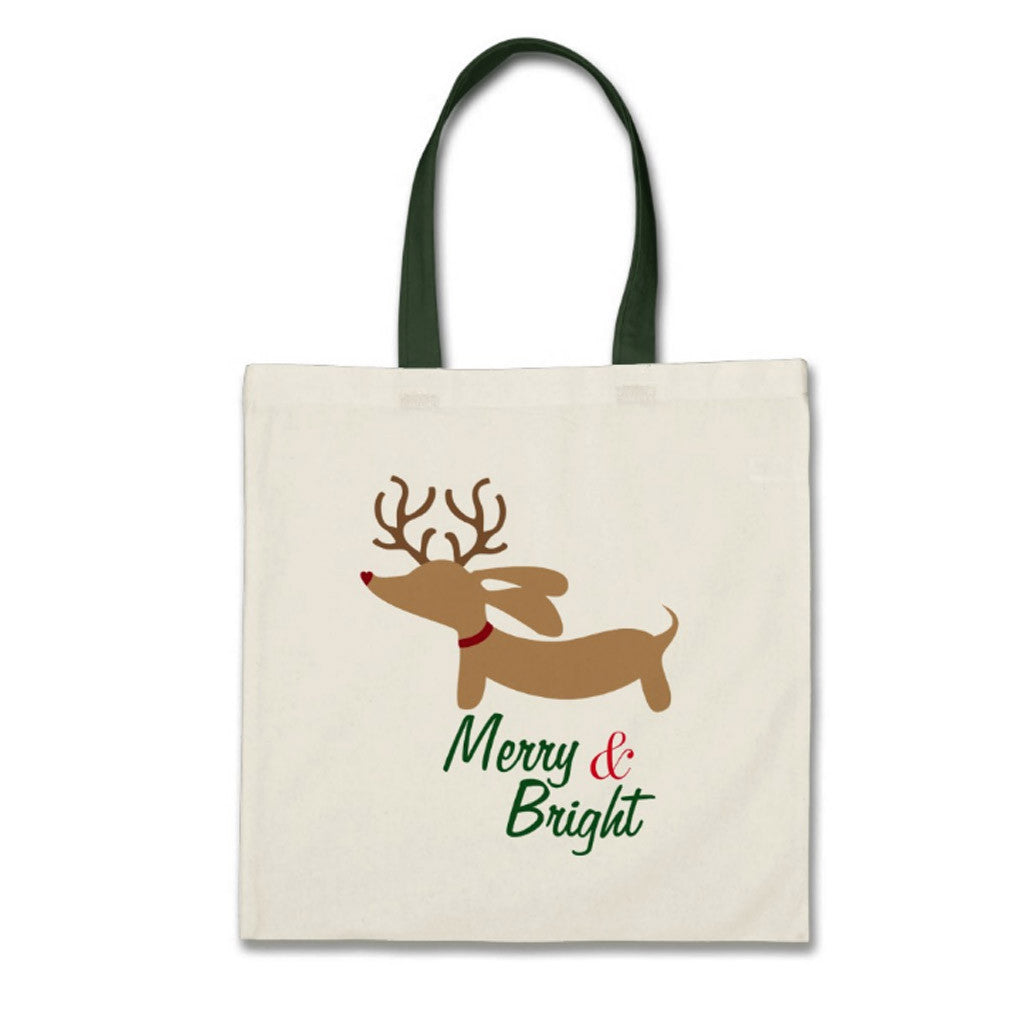 Merry & Bright Dachshund Christmas Tote Bag - The Smoothe Store