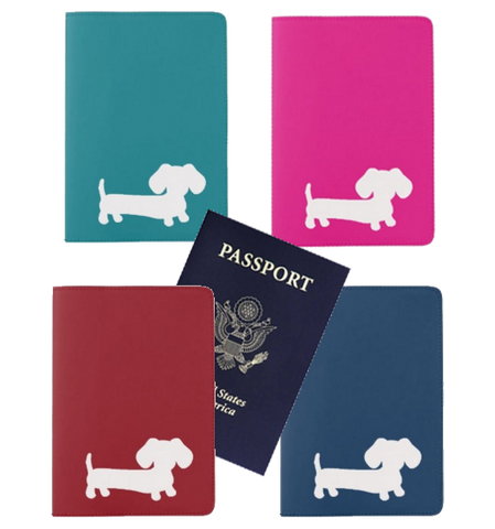 Dachshund Passport Holder in Pink, Teal, Navy or Red
