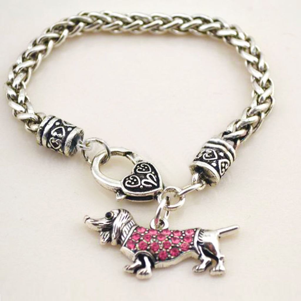Amber or Pink Stones Dachshund Bracelet, The Smoothe Store